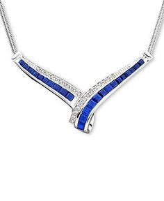 14k White Gold Sapphire (2 ct. t.w.) & Diamond (1/10 ct. t.w.) Necklace - Necklaces - Jewelry & Watches - Macy's