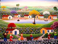 VALQUIRIA BARROS TEMA FAZENDA SANTA CLARA A VENDA COM AJUR SP (Painting),  50x60 cm por Arte Naif AJUR SP VENDEDOR E DIVULGADOR DA ARTE NAIF BRASILEIRA