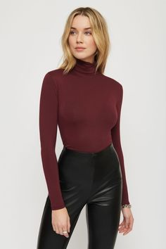 ETHOS | Tessa Long Sleeve Turtle Neck Top | Dynamite Faux Leather Pants, Long Sleeve Turtleneck, Black Stripes, Turtle Neck, Sleeves, Model, How To Wear, Tops, Shopping