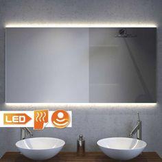 AANGESCHAFT Design badkamer spiegel met strijklicht en spiegelverwarming 120x60…