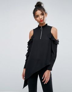 ASOS Asymmetric Top with Cold Shoulder and Ring Pull