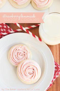 Delicious Strawberry Lemonade Cookies on { lilluna.com } #cookies