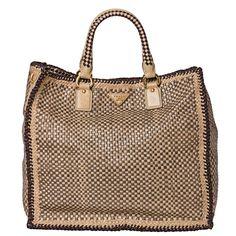 Prada Woven Tan/ Taupe Leather Madras Tote Bag