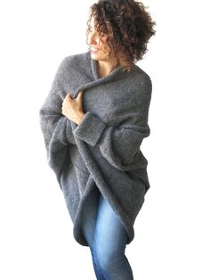 NEW! Plus Size Over Size Dark Gray Wool Overcoat - Poncho - Cardigan by afra on Etsy https://www.etsy.com/listing/247211857/new-plus-size-over-size-dark-gray-wool