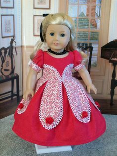 American Girl 1800's Holiday Petal Gown / Clothes for Caroline, Marie Grace or Cecile