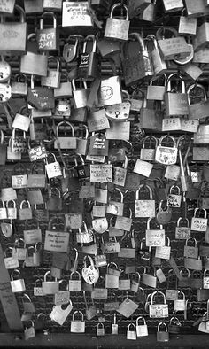 (This is a bridge in Paris. You hang locks on it with the name of you & your boyfriend/girlfriend/best-friend then throw the key into the river. So even though the friend/relationship may end, you cant remove the lock. It stays there forever, as relevance to someone once a part of your life. Must do this when we visit Paris <3