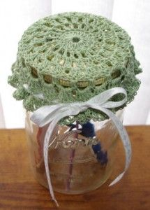 Different patterns for crocheted jar toppers for that gift in a jar.