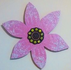 Handmade Pink Mixed Media Flower with Green Accent by JNicholsArt on Etsy