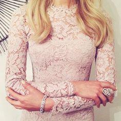 lace powder pink dress