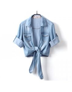 Women's Denim Tie Blouse