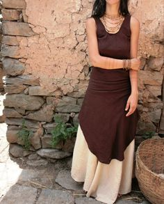 Earthy Dress Chocolade Brown thick Rough Raw Silk - XS size