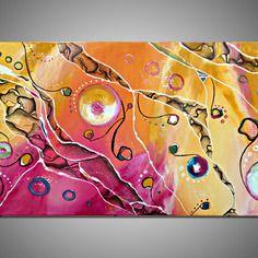 """""""shiny world"""", acrylique sur toile, tableau abstrait multicolore"""