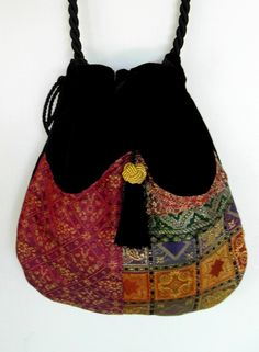 Elegant Patchwork Boho Bag Drawstring Bag Black Velvet Bag Bohemian Bag Crossbody Purse. $40.00, via Etsy.