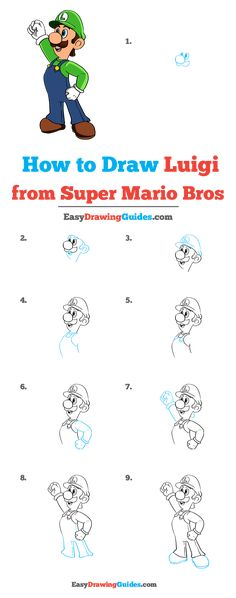 Learn to draw Luigi from Super Mario Bros. Kids and beginners alike can now draw a great looking Luigi from Super Mario Bros. Drawing Tutorials For Kids, Drawing Projects, Drawing Lessons, Drawing Tricks, Character Drawing, Game Character, How To Draw Mario, Mario Y Luigi, Blending Colored Pencils