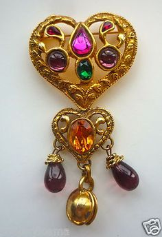 Classic Christian Lacroix Motif Extravagant Jeweled 3 by 2 in. Heart Brooch Pin