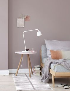 "Living with color - pastel as wall paint with colored furniture-Wohnen mit Farbe – Pastell als Wandfarbe mit farbigen Möbeln ""My Magnolia"" wall paint from beautiful living - Home Decor Bedroom, Bedroom Wall, Bedroom Ideas, Design Bedroom, Bedroom Lamps, Modern Bedroom, Taupe Bedroom, Grey Bedrooms, Cosy Bedroom"