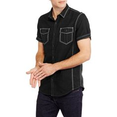 Burnside Men's Big Victor Woven Shirt, Black