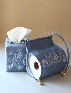 Modern Jacobean hand embroidery, bathroom accessories