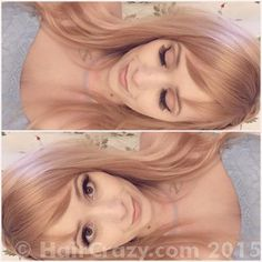 Two parts Wella Honey Beige Blonde and one part Wella Titian Red Blonde (Faded?)