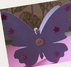 handmade butterfly shaped card with buttons