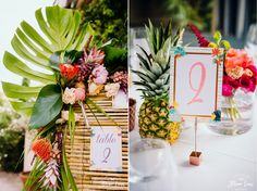Mariage Tropicool : ananas et Flamingo. plan de table jungle florida. Photographe : Floriane Caux