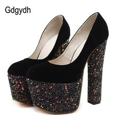 e74907be4915 Gdgydh Sexy Women s Shoes High Heels 16cm Spring Autumn Fashion Bling  Ladies Wedding Shoes Rubber Sole Women Pumps Platform-in Women s Pumps from  Shoes on ...