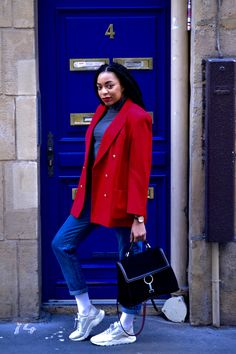 Valentine's Day vintage blazer with shoulder pads on the Breakfast with the Beatles blog #wiwtw