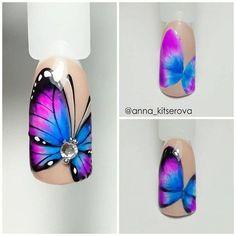Amazing Tips For The Best Summer Nails – NaiLovely Butterfly Nail Designs, Butterfly Nail Art, Diy Nail Designs, Bright Nail Art, American Nails, Halloween Nail Art, Gel Nail Art, Nail Tutorials, Perfect Nails