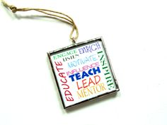 Motivational ornament for teachers, stained glass ornament, teach inspire educate mentor, Christmas ornament, teacher gift, appreciation #teachergift - pinned by pin4etsy.com