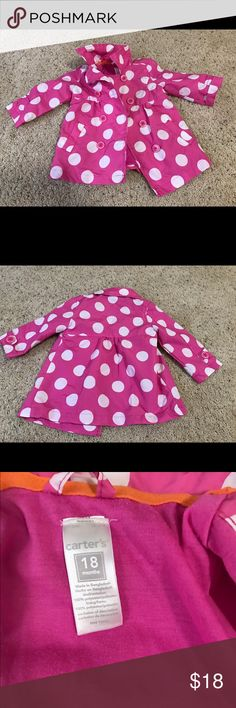 Adorable Carter's rain jacket This is a super cute pink with white polkadot rain jacket by Carters. It's sized for 18 months and my kids have outgrown it. That being said, they used it about twice. It's in great condition. Weatherproof on the outside (& a great windbreaker!) and soft on the inside. Carter's Jackets & Coats Raincoats