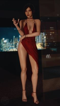 Resident Evil Girl, Ada Wong, Female Character Design, Fantasy Girl, Sensual, Sexy Legs, Lady In Red, Asian Beauty, Breakfast At Tiffanys
