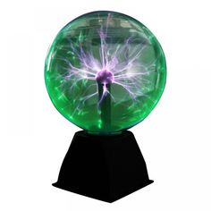 Plasma Ball Lamp Electric Globe Static Lamps Sound Sensitive 8 Inch Glass Sphere Nightlight Toy For Kids Plazma Novelty Light Plasma Globe, Sphere Light, Novelty Lighting, Led Night Light, Cool Toys, Lava Lamp, Desk Lamp, Light Colors, Lamps