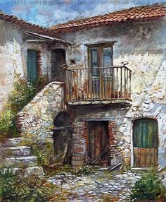 Visual result of Francesco Mangialardi Linda Mitchell Watercolor Architecture, Watercolor Landscape, Art And Architecture, Landscape Paintings, Watercolor Paintings, City Art, Diy Canvas Art, Stone Houses, Italian Artist