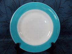 "Vintage Pyrex 8"" Salad Plate White  Milk Glass w/Turquoise Blue Rim Band Border"