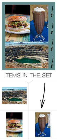 """burger, shake and rock quarry"" by karen-lynn-rigmarole ❤ liked on Polyvore featuring art"