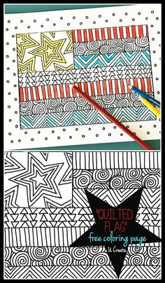 """Quilted Flag"" coloring page by U Create...free printable coloring page"