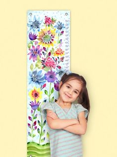 Watercolor Flowers Growth Charts   #watercolor #growthchart #kidsroom #floral #nursery Pink Crib, Baby Girl Crib Bedding, Baby Bedding Sets, Growth Chart Ruler, Growth Charts, Pumpkin Display, Baby Growth, Kids Canvas