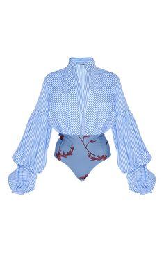 Penny Puff Sleeve Poplin Bodysuit by JOHANNA ORTIZ Now Available on Moda Operandi