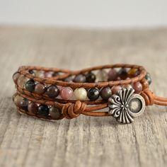 Bohemian tourmaline bracelet. Purple, pink, grey bead jewelry. Wrap bracelet. by SinonaDesign on Etsy