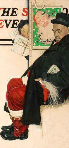 A wide-eyed young boy peeks at an off duty Santa Claus in this endearing Norman Rockwell painting ~ M.S. Rau Antiques