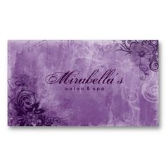 Floral Salon Spa Business Card Grunge Purple