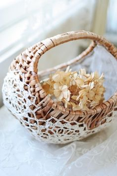 Lace covered basket from Inspiration Lane blog