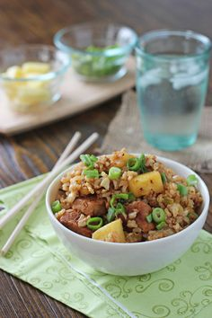 Recipe for pineapple pork fried rice. A quick and easy dinner option. Packed with flavor from the spices, pineapple and pork, and cashews for added crunch. Pork Dishes, Rice Dishes, Main Dishes, Pork Recipes, Asian Recipes, Healthy Recipes, Rice Recipes, Main Meals, Soul Food