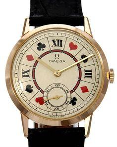 Omega Vintage Poker Dial 18K Gold Watch