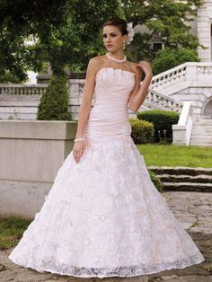 Pink wedding dress by David Tutera for Mon Cheri