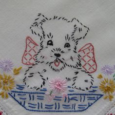 Vintage Embroidered Puppies Dogs Dresser Scarf - Dogs in Baskets - Hand Embroidered - Table Scarf - Nursery - Shabby Chic - Home Decor