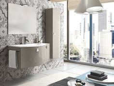 Composizione mobile bagno woody composta da base lavabo cm