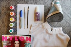How to create a watercolor effect on fabric - I'm not a fan of the shirt made here, but the tutorial is great! Watercolor Fabric, Watercolor Dress, Fabric Painting, Fabric Yarn, Fabric Crafts, Sewing Crafts, Sewing Projects, Trash To Couture, Disney Outfits