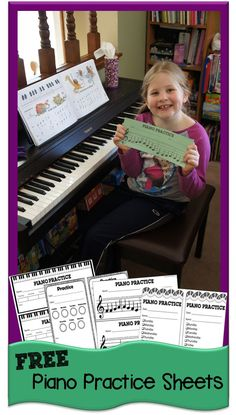 FREE Piano Practice Sheets are a fun way for kids to record their piano practice. LOVE the ones where kids make hole punches through the music notes to make a popular song! SO CUTE!