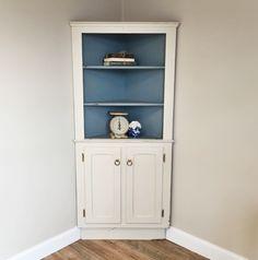White Corner Hutch, Farmhouse Hutch, Corner Cupboard, Shabby Chic Cabinet, Kitchen  Corner